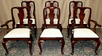 HENKEL HARRIS DINING CHAIRS Mahogany Queen Anne Style #110A VINTAGE Set of 6