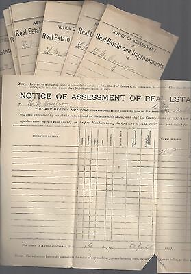 1900 era NOBLESVILLE, INDIANA REALESTATE & IMPROVEMENT ASSESSMENT NOTICES