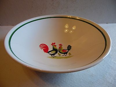 "9"" Round Vegetable Bowl Rooster Family Affair by Steubenville"