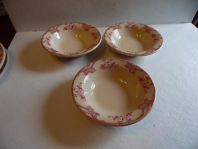 "3 Rose Point Inca Ware Shenango China 5 3/4"" Diameter Dessert Fruit Bowls"