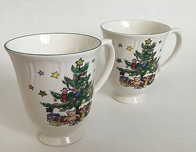 "Nikko Happy Holidays Two Tall Coffee Tea Mugs 4 1/8"" Pedestal VGC"