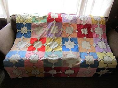 Vintage Hand Appliqued and Embroidered Friendship Quilt Top c. 1922-29