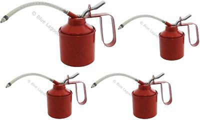 4 x 560ml (1 Pint) Oil Can Tin Pump Flexible Spout Handle Metal Lubricant Garage