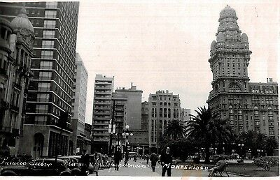 RPPC,Montevideo,Uruguay,So.America,Palacio Salvo & Plaza Independencia,1955