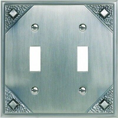 CRAFTSMAN WALL PLATE Double toggle switchplate cover Arts Crafts Mission Pewter