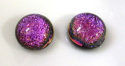 7mm-8mm set of two round flat back no hole Dichroic Glass Cabochon beads