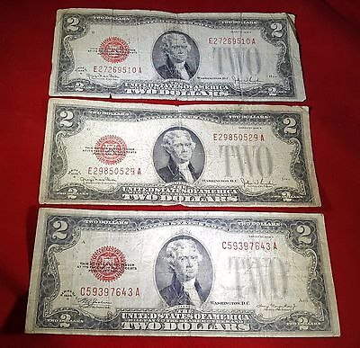 Lot of 3 1928 U.S. Red Seal $2 Two Dollar Bill Notes Antique US Currency Money