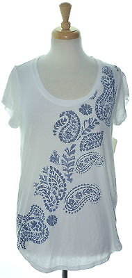LUCKY BRAND 3810 Size Medium M Womens NEW White Printed Casual T-Shirt Top