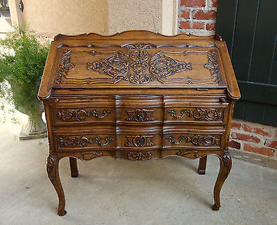 Antique French Carved Dark Oak Desk Secretary Bureau Louis XV Drop Slant Front