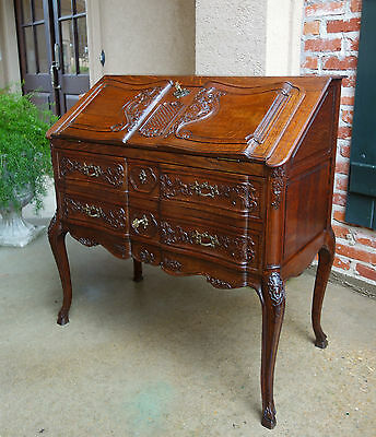 Antique French Carved Oak Desk Secretary Bureau Louis XV Drop Front Rococo