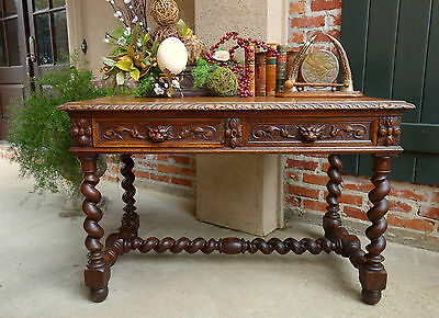 Antique French Carved Oak BARLEY TWIST Library Writing DESK TABLE Renaissance