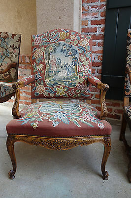 Antique French Carved Walnut Fireside Arm Chair Needlepoint Sheep Louis XV