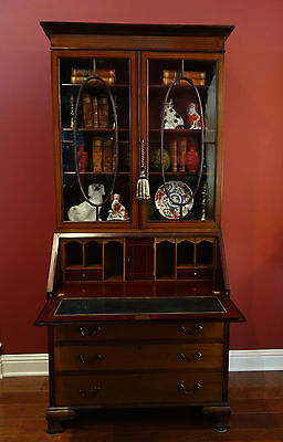 Antique English Inlaid Mahogany Desk Secretary Bookcase Edwardian Bureau leather