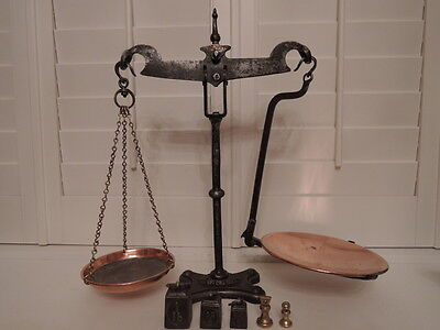 Victorian Avery Wrought Iron Swan Neck Grocer's Balance Scales w/Weights Kitchen