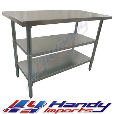 1200 X 390mm  NEW STAINLESS STEEL WORK BENCH+ 2 GALVANISED STEEL UNDER SHELF