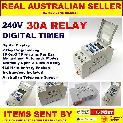 240v DIGITAL TIMER 24/7 20A-30A DIN LCD INDUSTRIAL SOLAR HOT WATER AUSSIE SELLER