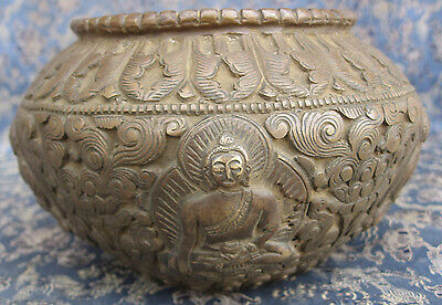 Antique Master Quality Pure 5 Metal Bronze Begging Pot Golpa, Nepal