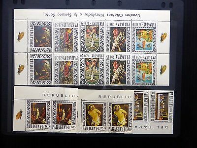 PARAGUAY 1960/70 Paintings 8 Values in Multiples (2 Sets) U/M NB165