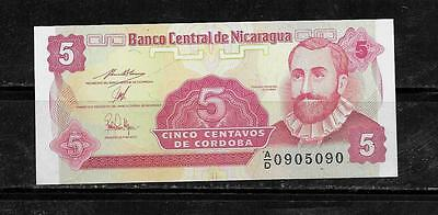 NICARAGUA #168a 1991 UNC OLD  5 CENTAVOS BANKNOTE NOTE CURRENCY PAPER MONEY