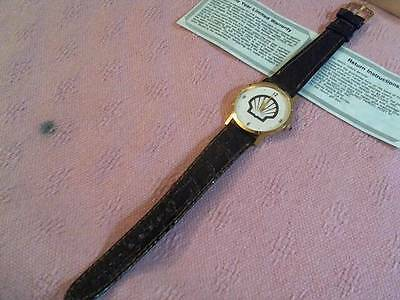 Unused Vintage Shell Oil Co. Watch With Leather Band Needs Battery , Unbranded
