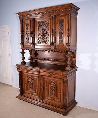 *Antique French Renaissance Sideboard/Buffet in Solid Walnut Highly Carved