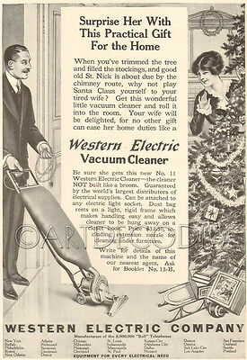 Antique Western Electric VACUUM CLEANER Christmas Tree Gift SURPRISE HER Wife Ad