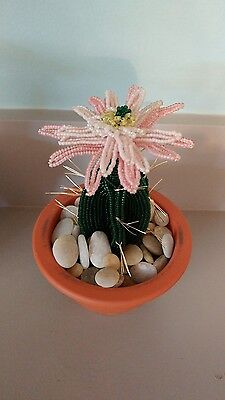 Handmade french beaded Flower Cactus Cacti plant with peach flower in Clay pot