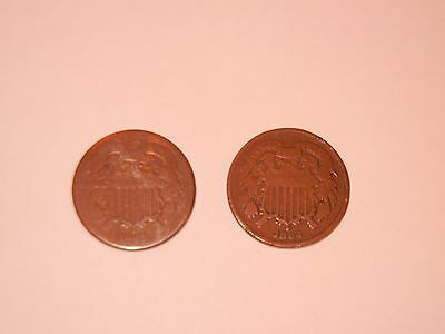 1864 & 1865 Two Cent Copper Coins