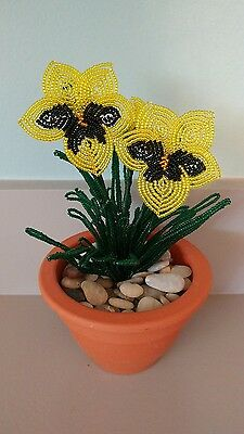 Handmade french beaded Flower Pansy plant in Clay pot black and yellow flowers