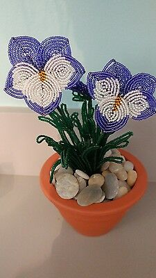 Handmade french beaded Flower Pansy plant in Clay pot purple and white flowers