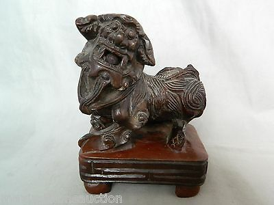 Antique Chinese Wood Carved Foo Dog Statue Sculpture Figure