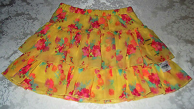 Girl 7 Scooter Skirt w/ Attached Shorts Polyester Chiffon Yellow Floral NWT $20