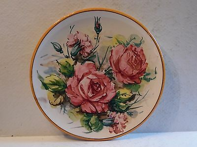 """Vintage Hand Painted Rose Flowers 10"""" Plate Italy Pottery"""