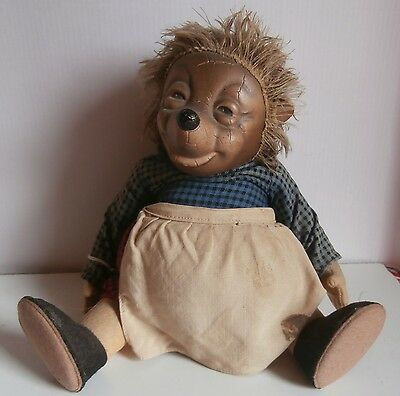 ESTATE/ CHARMING  ALL  JOINTED  FELT  HEDGEHOG  mohair  FUNNY  FACE DOLL