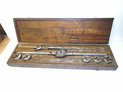 Vintage  large O.K. Screw Plate tap and die set with original wooden box