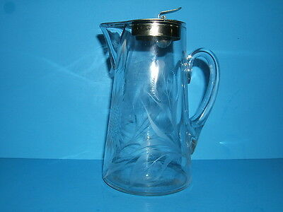 Antique Etched Glass Syrup Pitcher w/ Metal Cover 1916