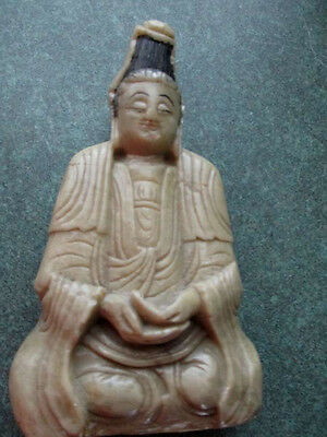 Antique Chinese Soap Stone carving Kwan Yin seated.