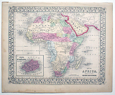 ORIGINAL MITCHELL HAND-COLORED ANTIQUE MAP AFRICA, ISLAND OF ST HELENA,  c.1867