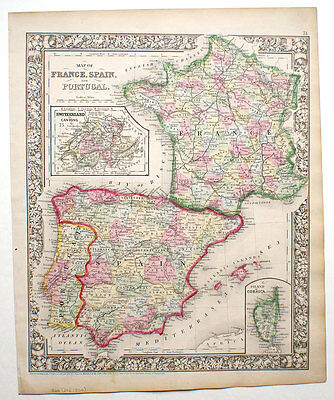 ORIGINAL MITCHELL HAND-COLORED ANTIQUE MAP FRANCE SPAIN PORTUGAL c.1866