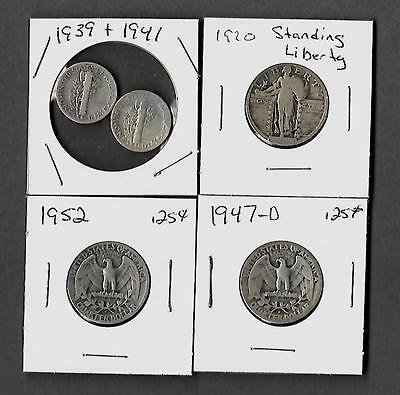 Silver Coin - Lot Of 5 - 1939 / 1941 / 1920 / 1947 / 1952 - Ungraded/circulated
