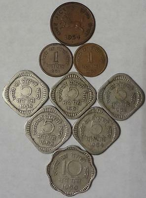 1954-1964 India, Lot Of 9 Different Coins