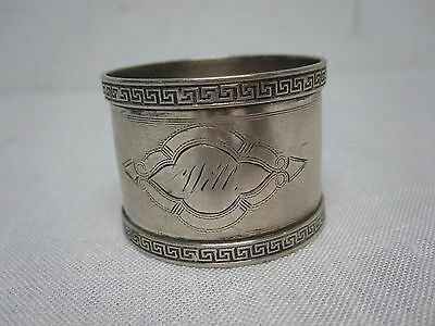 "VINTAGE STERLING SILVER 1 1/4"" NAPKIN RING w GREEK KEY EDGE ENGRAVED ""WILL"""