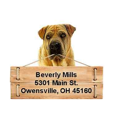 Shar Pei return address labels die cut to shape of dog and sign