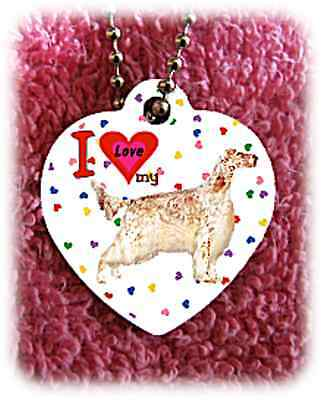 "English Setter Dog heart necklace 24"" chain background of hearts"