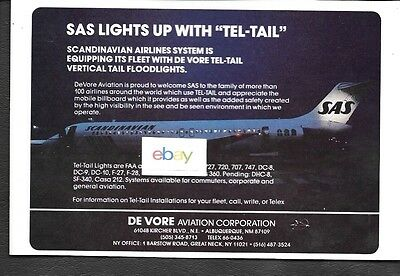 Sas Scandinavian Airlines System Dc-9-30 At Night De Vore Tel Tail 1983 Ad