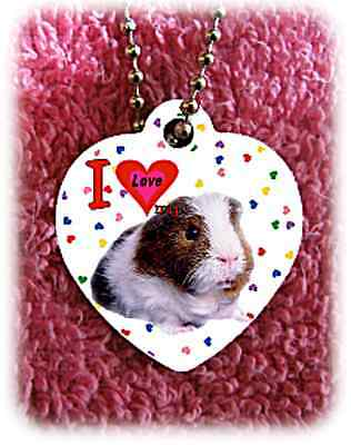 """Guinea Pig heart necklace 24"""" chain Valentine background of hearts"""