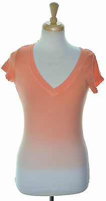 INC 3620 Size Small S Womens NEW Coral Ombre Casual T-Shirt Top Short Sleeve