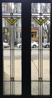 """Antique Art Deco Stained Leaded Glass Bookcase Cabinet Doors / Windows 45"""" x 12"""""""