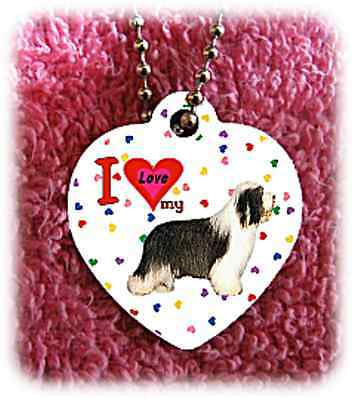 """Bearded Collie heart necklace 24"""" chain background of hearts"""