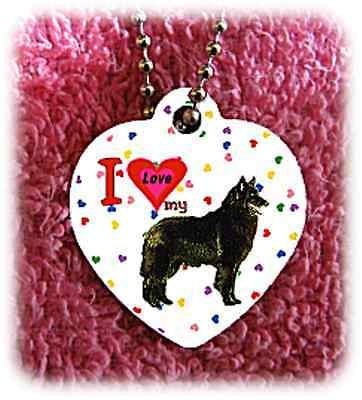 """Belgian Sheepdog heart necklace 24"""" chain background of hearts"""
